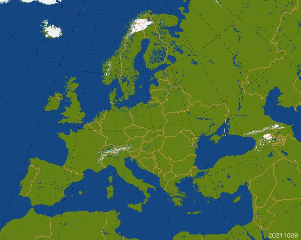 Mapa pokrywy śnieżnej w Europie